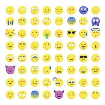 Conjunto de emoticonos sonrientes lindos
