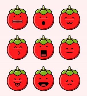 Conjunto de emoticonos de tomate