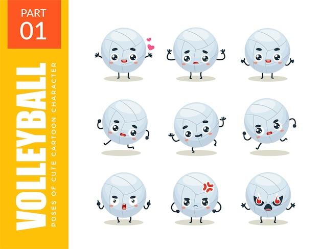 Conjunto de emoticonos de voleibol. primer set. ilustración vectorial