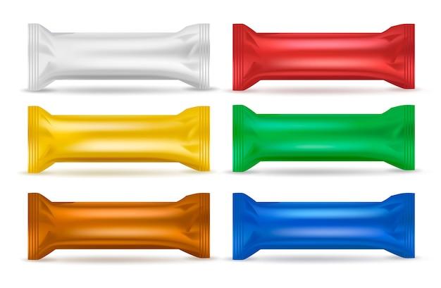 Conjunto de empaque de bocadillos coloridos