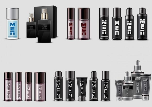 Conjunto de empaquetado cosmético de los hombres en el fondo blanco
