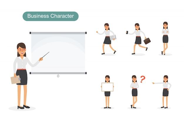 Conjunto de empresaria en diferentes posiciones