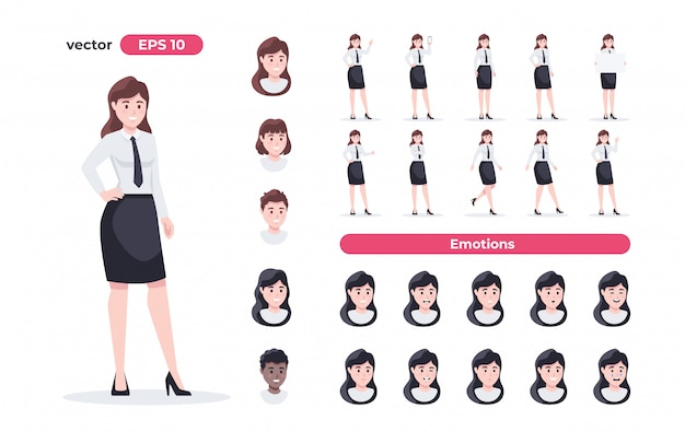 Conjunto de empresaria mujer en el lugar de trabajo. oficinista en traje. gente de dibujos animados en diferentes poses y acciones. lindo personaje femenino para animación. diseño simple. ilustración de estilo plano