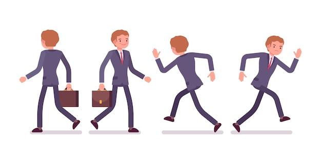 Conjunto de empresario en caminar, correr poses, vista trasera, frontal