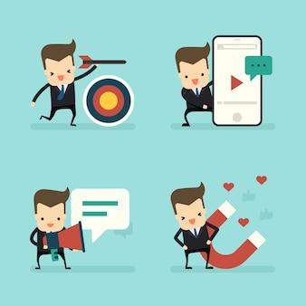 Conjunto de empresario en concepto de marketing