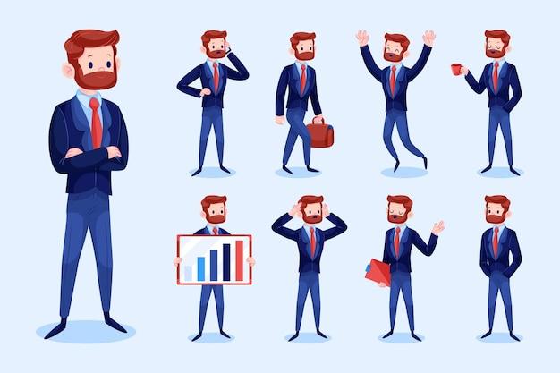 Conjunto de empresario en diferentes posiciones