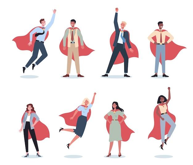 Conjunto de empresario y empresaria con capa roja de superhéroe.