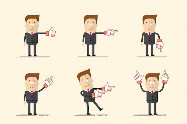Conjunto de empresario hombre mostrando los pulgares hacia arriba o hacia un lado
