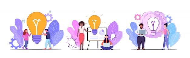 Conjunto empresarios con bombilla brillante exitoso trabajo en equipo soluciones creativas gran idea lluvia de ideas conceptos colección mezclar raza hombres mujeres compañeros de trabajo lluvia de ideas horizontal completo