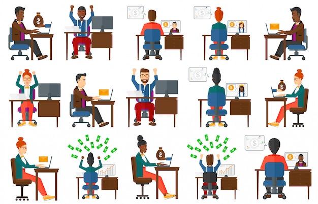 Conjunto de empresarios con computadora