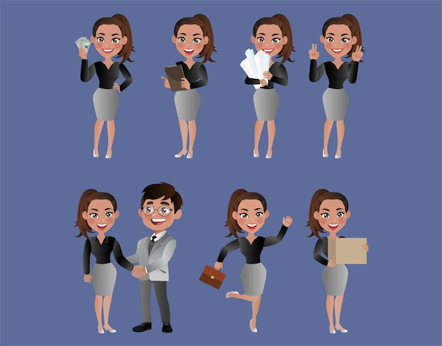 Conjunto de empresarios con diferentes poses.