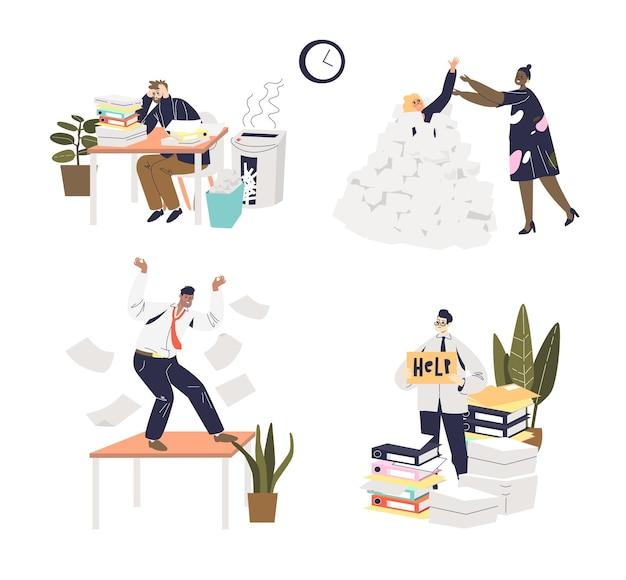 Conjunto de empresarios con exceso de trabajo cansados, ansiosos y sufriendo