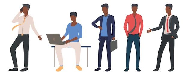 Conjunto de empresarios negros liderando negocios.