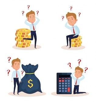 Conjunto de empresarios preocupados con iconos de negocios