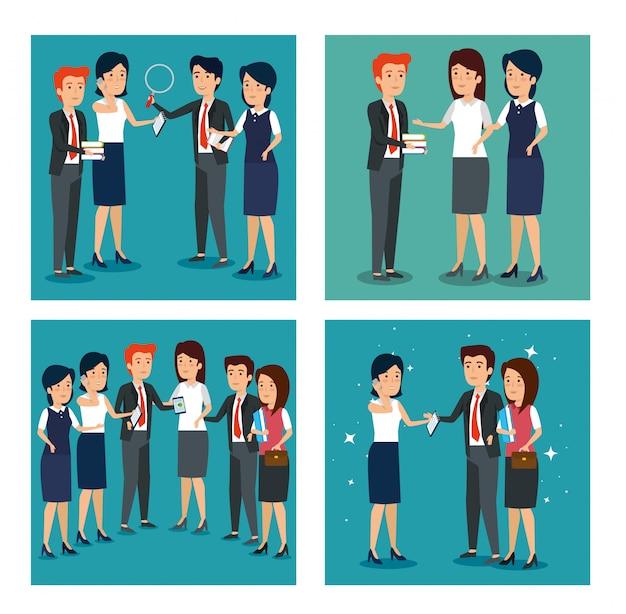 Conjunto de empresarios en una reunión