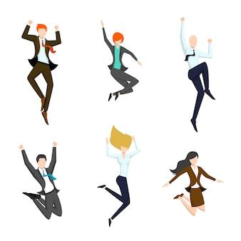 Conjunto de empresarios saltando en el aire.