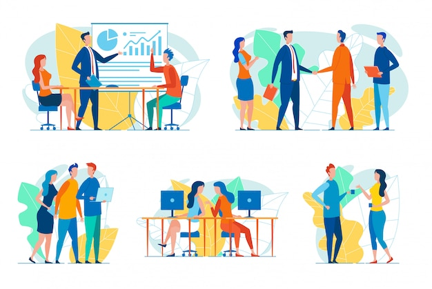 Conjunto de empresarios en situaciones de trabajo.