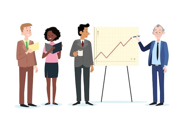 Conjunto de empresarios en el trabajo