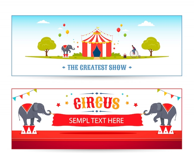Conjunto de encabezado de circo de dibujos animados. vector ilustración de parque de circo. elefantes de circo