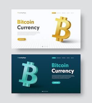 Conjunto de encabezado de sitio web blanco y verde oscuro con un icono de moneda-bitcoin 3d dorado y azul.