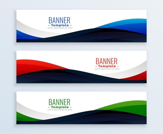 Conjunto de encabezados de banners de negocios web ondulado