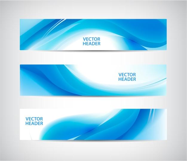 Conjunto de encabezados ondulados azules abstractos, banners de flujo de agua.