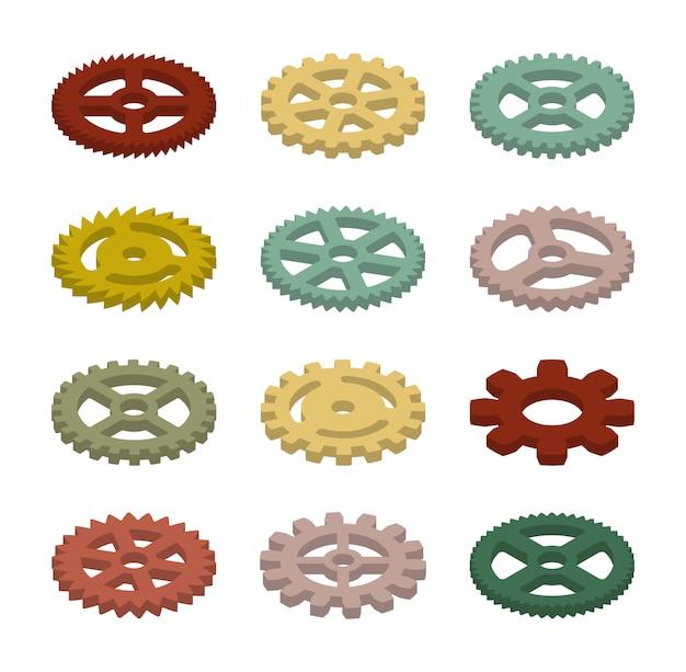 Conjunto de los engranajes isométricos de colores.