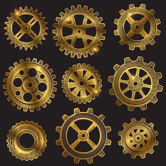 Conjunto de engranajes mecánicos boceto retro dorado.