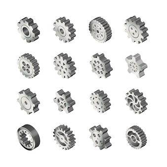 Conjunto de engranajes realistas de metal brillante en vista isométrica en blanco