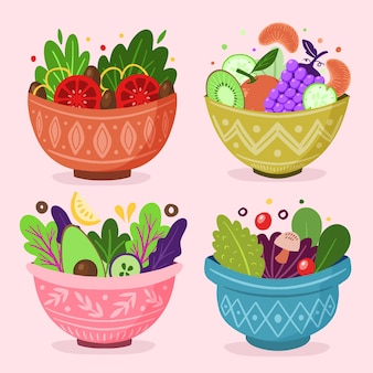 Conjunto de ensalada de frutas en tazones