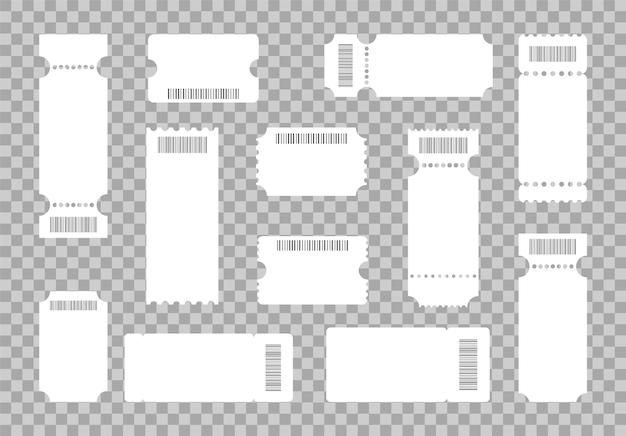 Conjunto de entradas de plantillas en blanco con códigos de barras, cupones y vales.