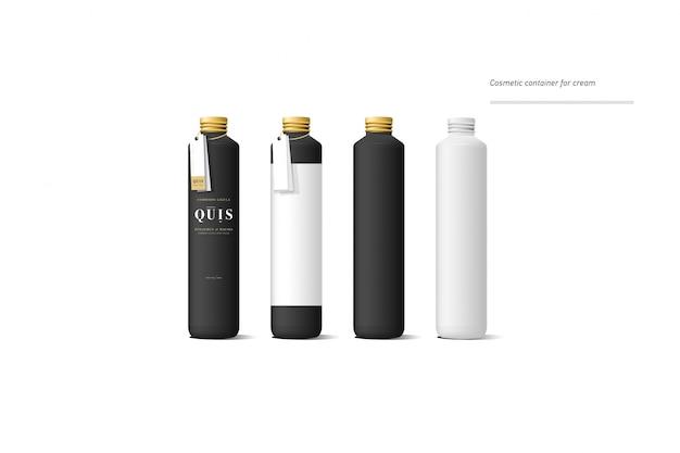 Conjunto de envase de crema cosmética negro realista. burlarse de la botella. gel, polvo, bálsamo y aceite, con etiqueta dorada.