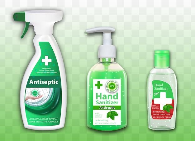 Conjunto de envases de antiséptico para manos y superficies sobre fondo transparente. dispensador de spray y botellas. anuncios de desinfectante en contenedores con elementos de hojas.