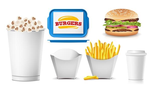 Conjunto de envases en blanco de comida rápida