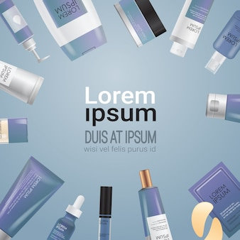 Conjunto de envases de cosméticos o perfumes, botellas de belleza facial, productos de spa, cosmetología natural, cuidado de la piel, embalaje, marca, tratamiento de la piel, concepto, espacio de copia