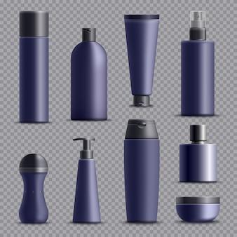 Conjunto de envases cosméticos realistas masculinos