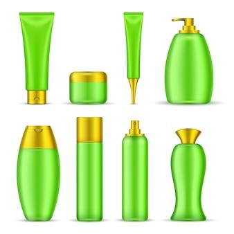 Conjunto de envases cosméticos