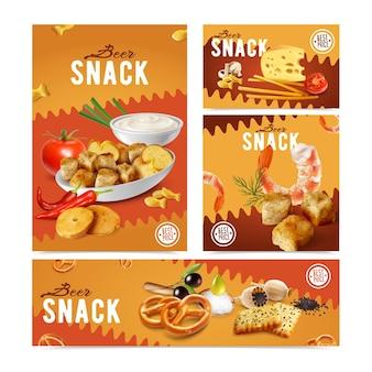 Conjunto de envases realistas verticales y horizontales con varios aperitivos de cerveza salada, galletas, queso, gambas
