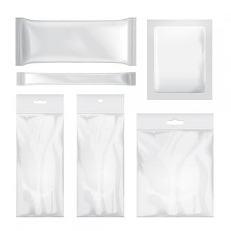 Conjunto de envases transparentes y blancos en blanco para alimentos, meriendas, café, cacao, dulces, galletas, papas fritas, nueces, azúcar. paquete de plastico