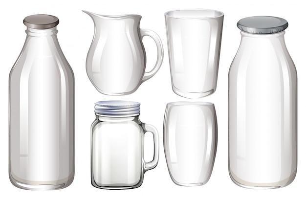 Conjunto de envases de vidrio sin etiqueta