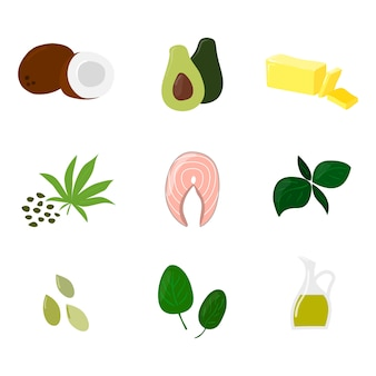 Conjunto de equilibrio de la hormona alimentaria aislado en blanco. ilustraciones de productos de estilo de dibujos animados de vectores