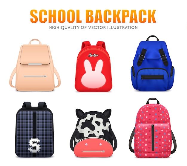 Conjunto de equipaje de bolsa de mochila de educación escolar realista de seis mochilas escolares aisladas de diferente forma y color ilustración vectorial