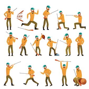 Conjunto de equipamiento de caza, estilo cartoon.