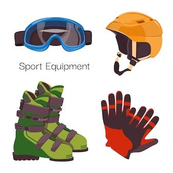 Conjunto de equipamiento de deportes de invierno.