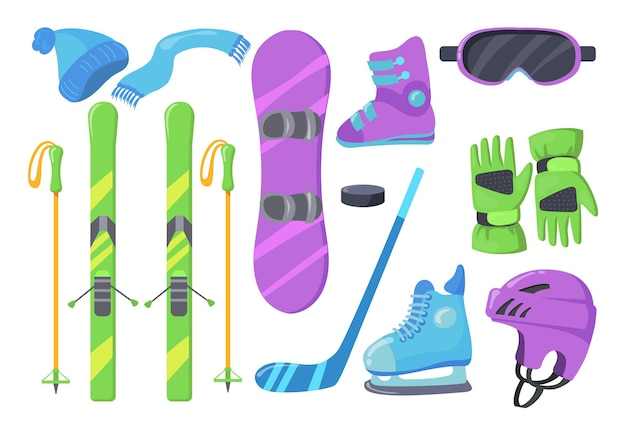 Conjunto de equipamiento para deportes de invierno.