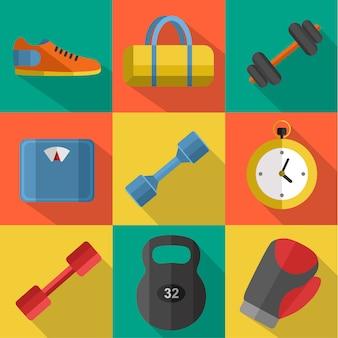 Conjunto de equipamiento deportivo de gimnasio