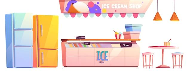 Conjunto de equipamiento interior de heladería o cafetería