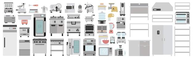 Conjunto de equipamiento y mobiliario de cocina de restaurante profesional. colección de chef