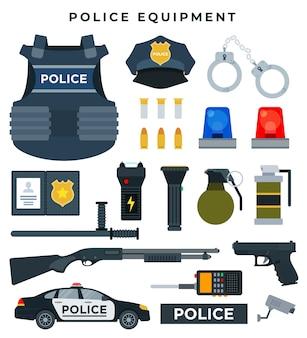 Conjunto de equipamiento profesional policial.