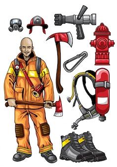 Conjunto de equipo de bombero